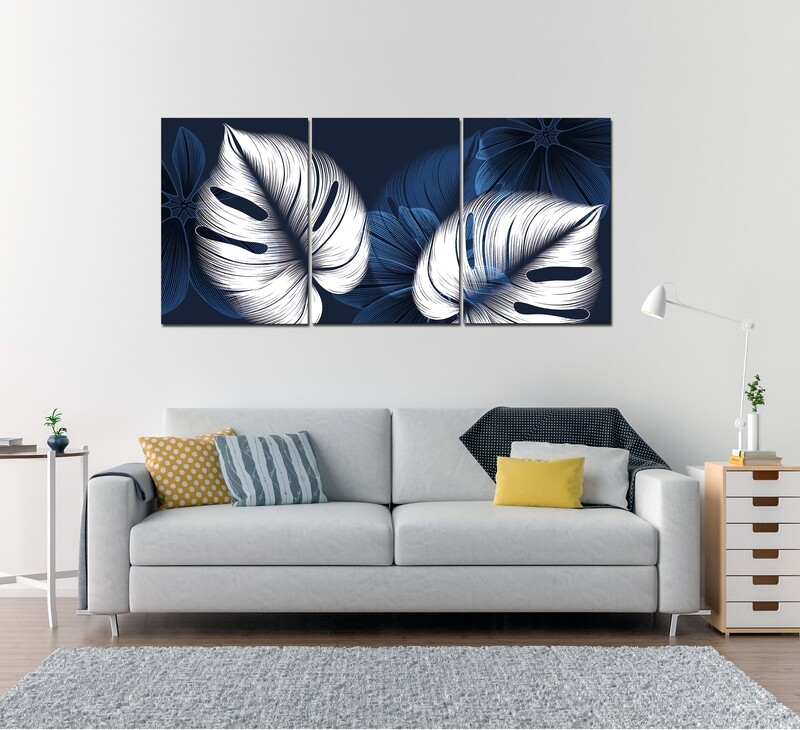 White Leaves - Modern Luxury Acrylic Glass Wall art - Frameless and Ready to Hang
