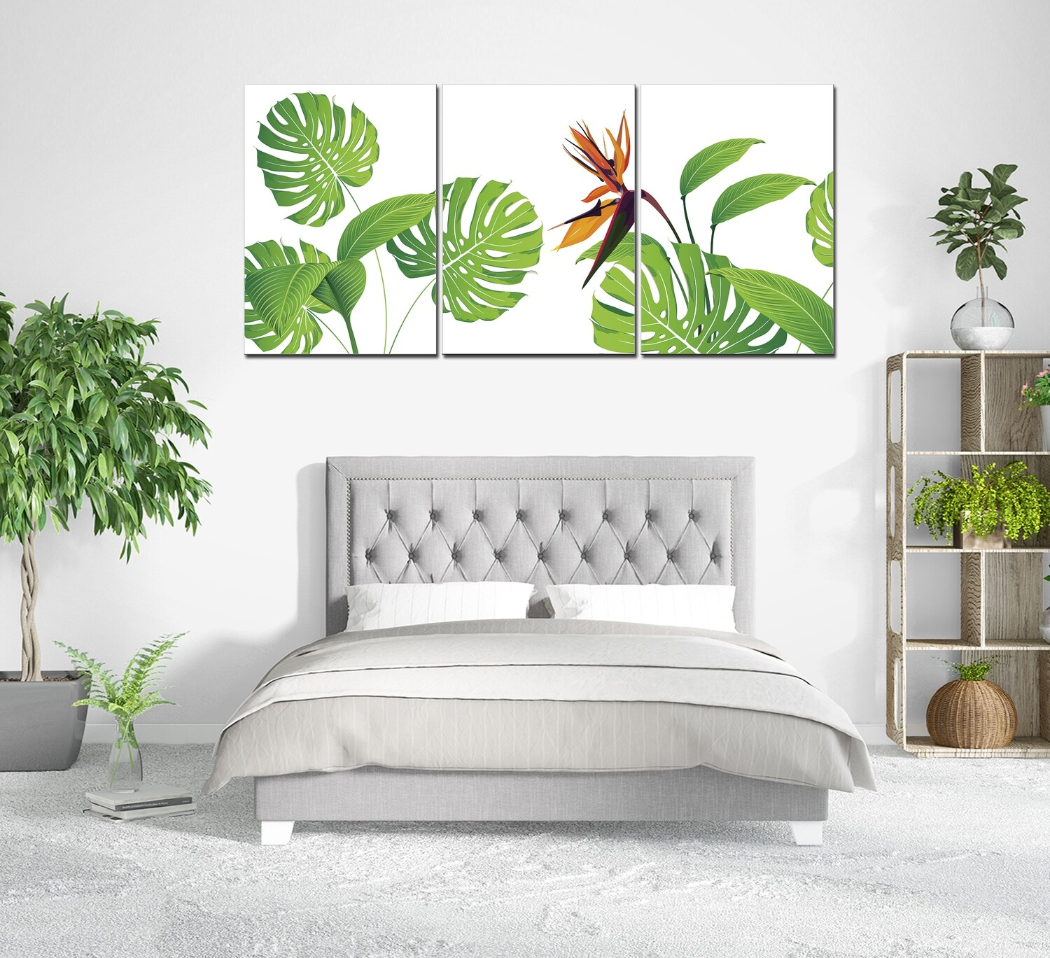 Green Leaves - Modern Luxury Acrylic Glass Wall art - Frameless and Ready to Hang