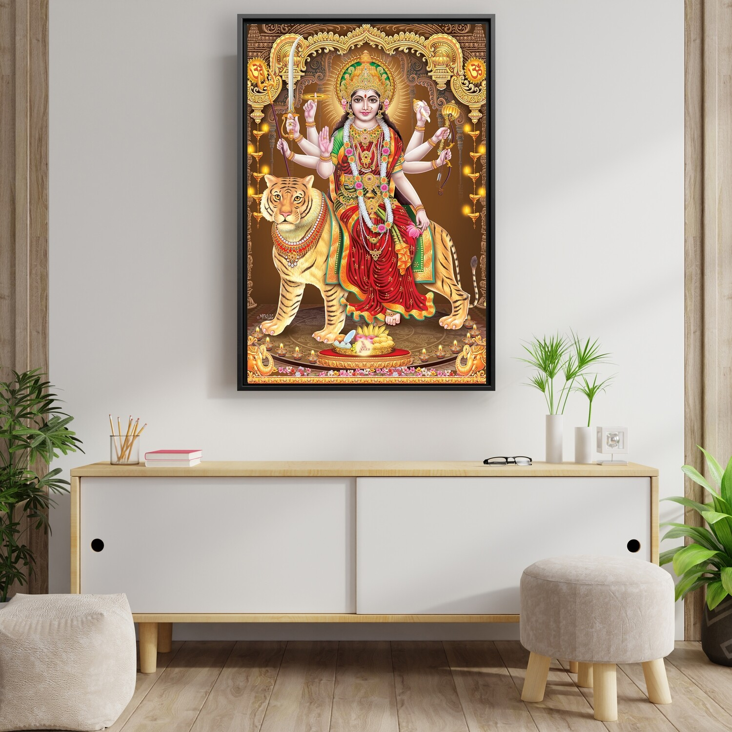 Durga Devi  Painting -Framed Hindu God Wallart -Kali Devi Picture Printed on  Acrylic Glass -Framed and Ready To Hang