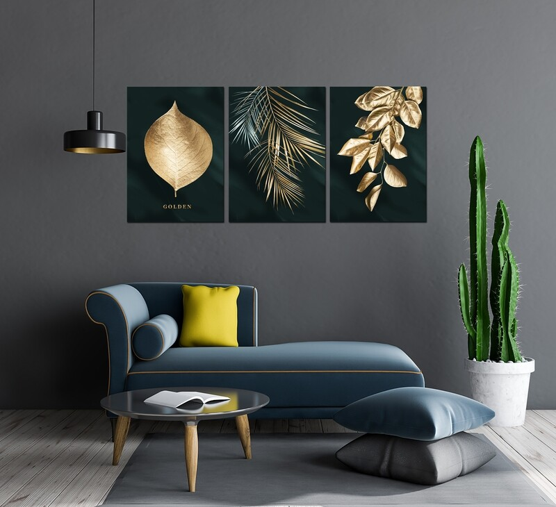 Golden Leaves - Modern Luxury Acrylic Glass Wall art - Frameless and Ready to Hang