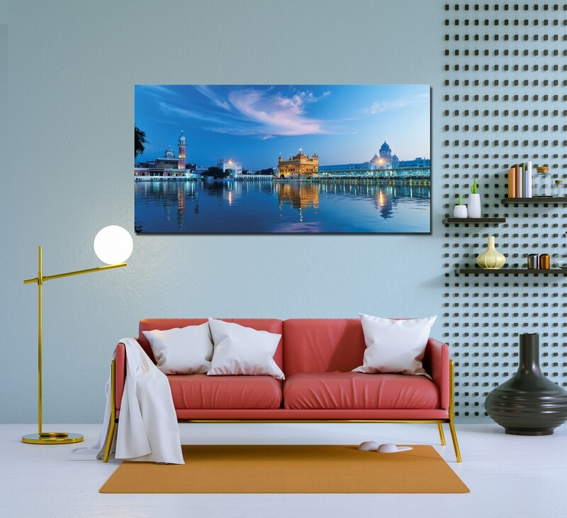 Golden Temple Blue Sky - Modern Luxury Wall art Printed on Acrylic Glass - Frameless and Ready to Hang