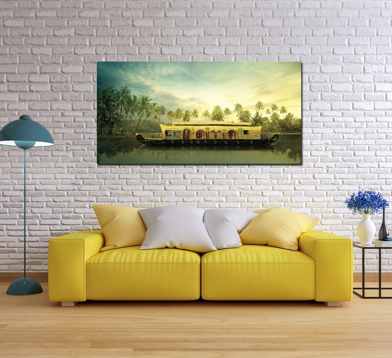 House Boat - Modern Luxury Wall art Printed on Acrylic Glass - Frameless and Ready to Hang
