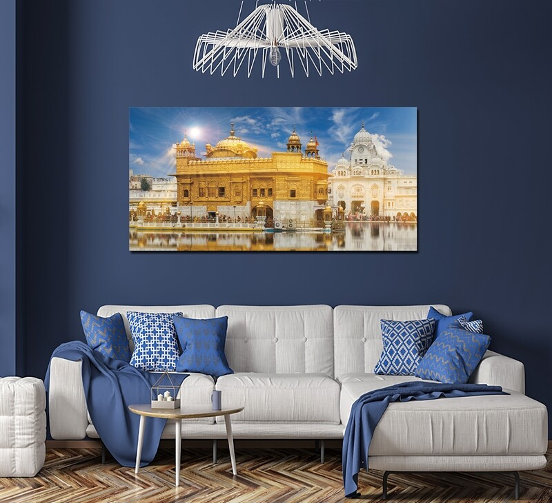 Golden Temple - Modern Luxury Wall art Printed on Acrylic Glass - Frameless and Ready to Hang