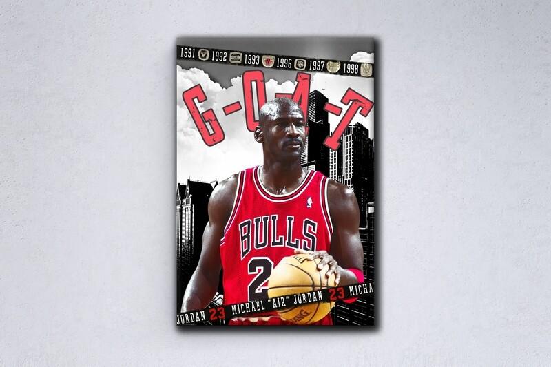 Michael Jordan Painting -Sports Wallart - Chicago Bulls Michael Jordan - Picture Printed on Frameless Acrylic Glass- Ready To Hang
