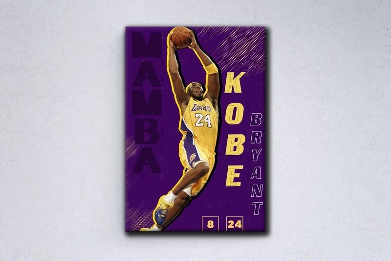 Kobe Bryant Painting -Sports Wallart - LA Lakers Kobe Bryant  - Picture Printed on Frameless Acrylic Glass- Ready To Hang