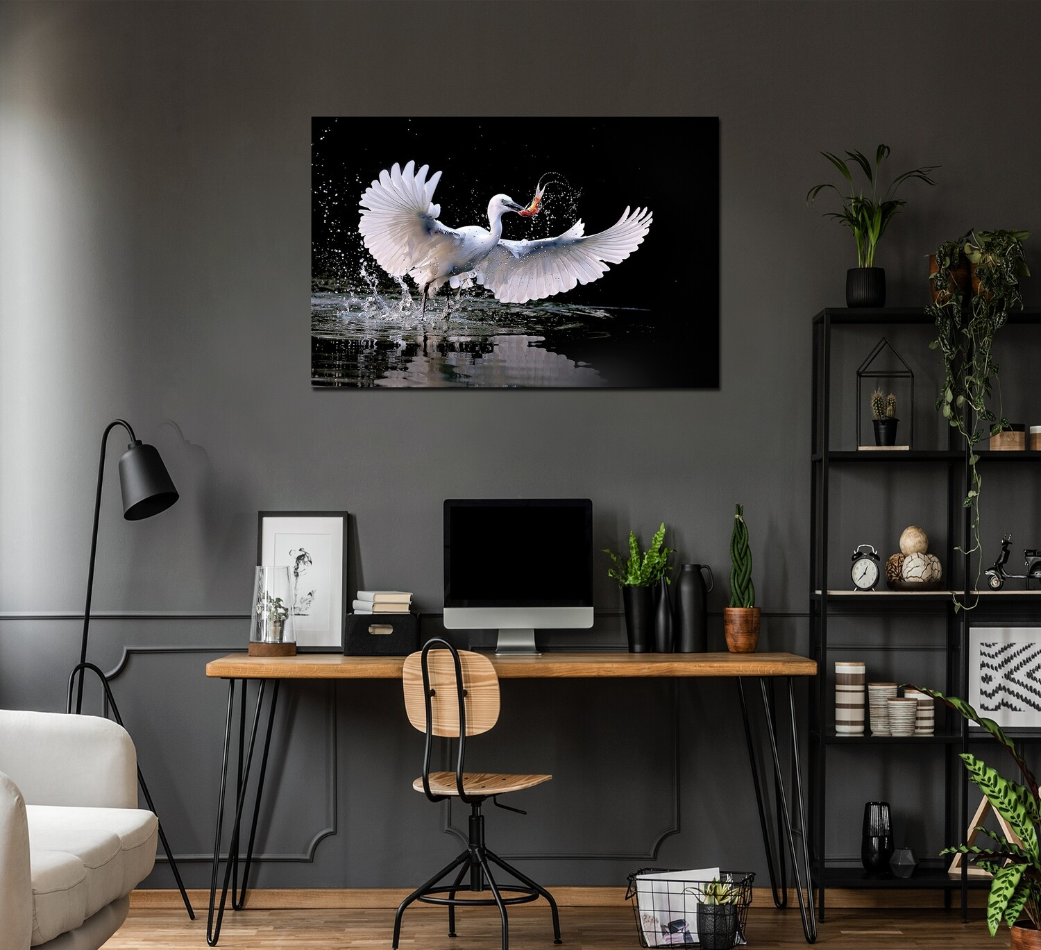 Crane Fish Catch Picture Printed on Frameless Acrylic Glass - Modern Luxury Acrylic Glass Wall art - Frameless and Ready to Hang