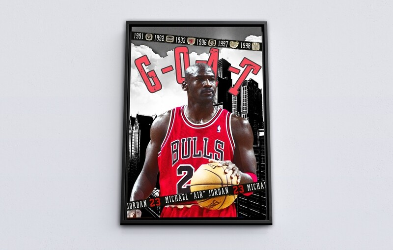 Michael Jordan Painting-Framed Sport Wallart -Chicago Bulls Michael Jordan Picture Printed on  Acrylic Glass -Framed and Ready To Hang