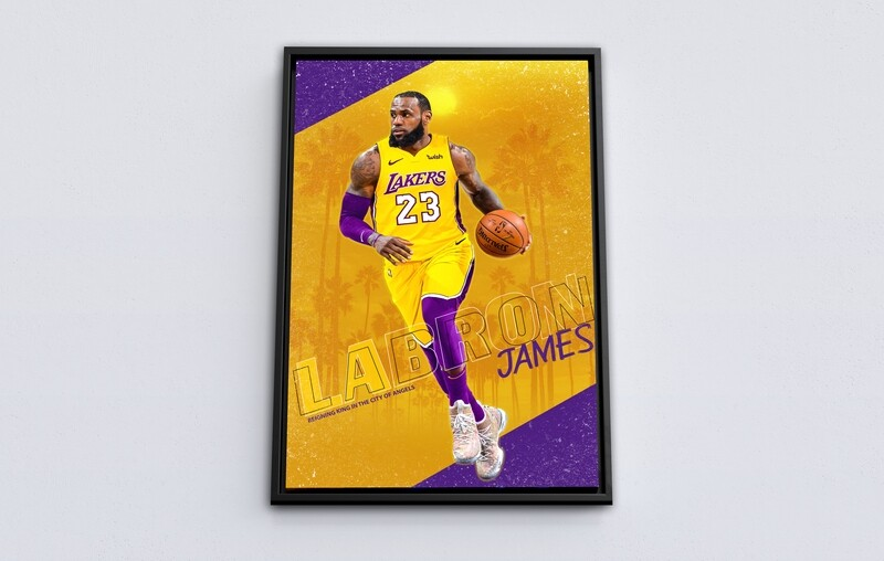 Lakers LeBron James Painting-Framed Sport Wallart - L.A lakers LeBron James Picture Printed on Acrylic Glass - Framed and Ready To Hang
