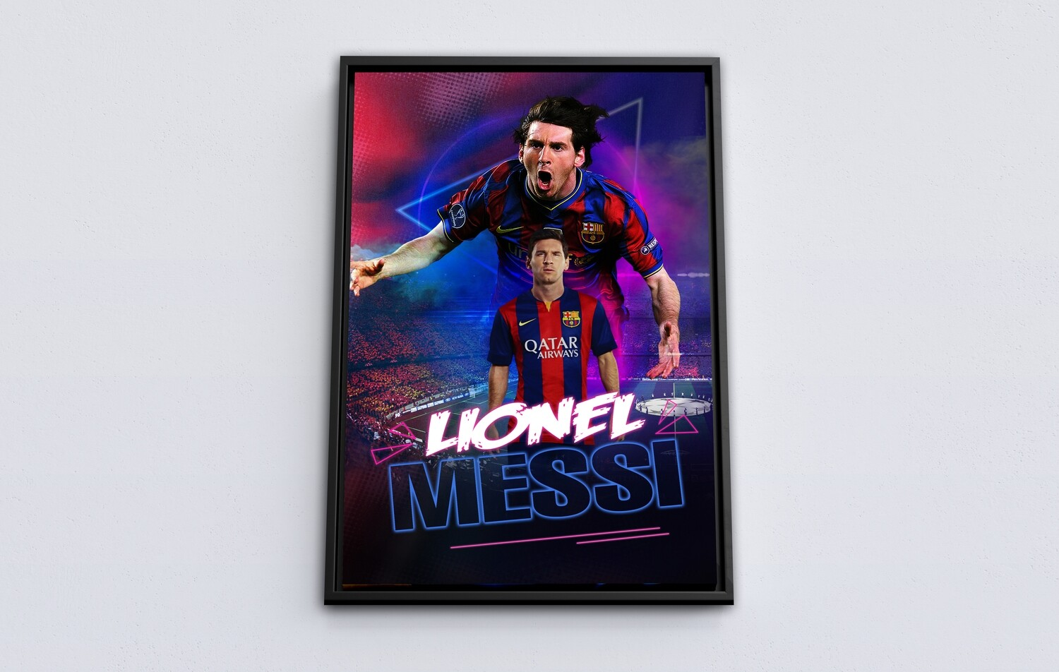 Lionel Messi Painting-Framed Sport Wallart - FC Barcelona Lionel Messi Picture Printed on Acrylic Glass - Framed and Ready To Hang