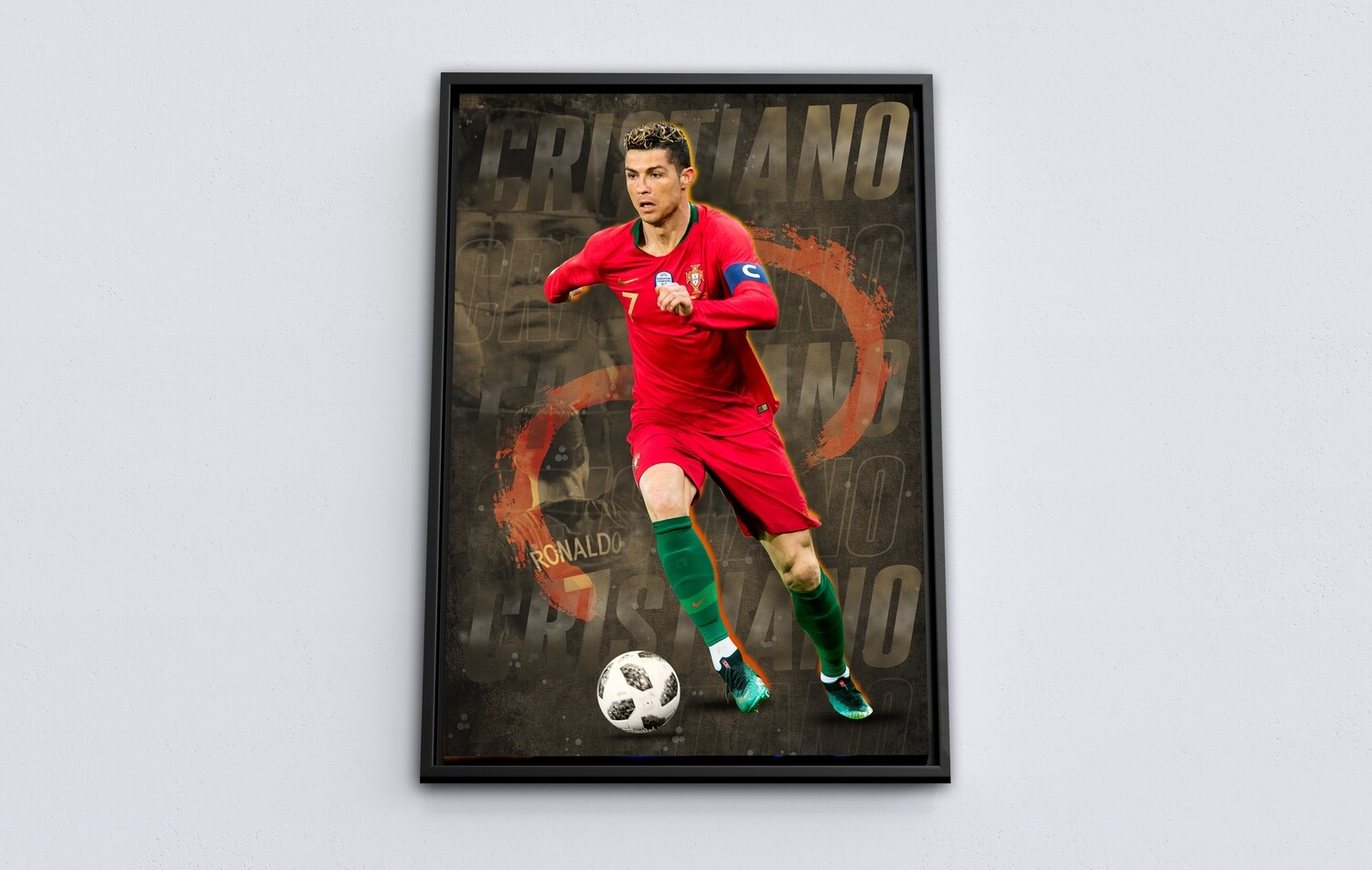 Cristiano Ronaldo Painting-Framed Sport Wallart - CR7 - Picture Printed on Acrylic Glass - Framed and Ready To Hang