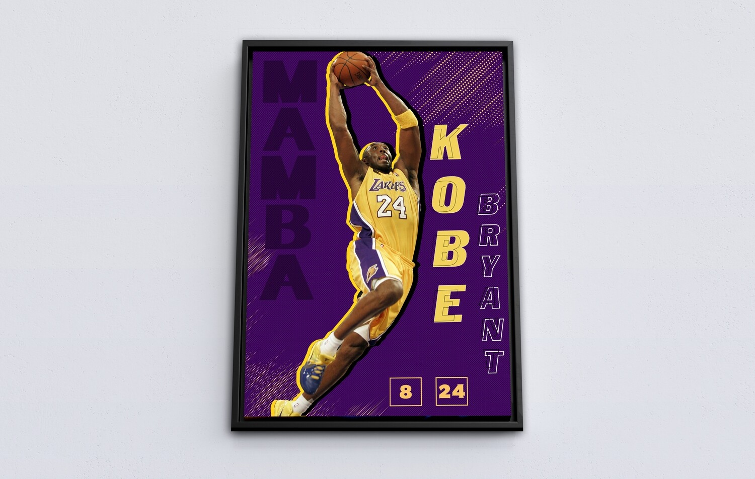 Lakers Kobe Bryant Painting-Framed Sport Wallart - Mamba Kobe Bryant Picture Printed on Acrylic Glass - Framed and Ready To Hang