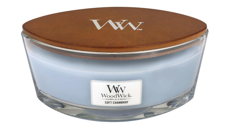 Аромасвеча WoodWick Мягкая шамбре, эллипс