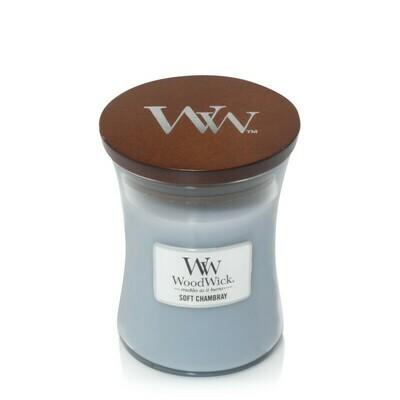 Аромасвеча WoodWick Мягкая шамбре, средняя