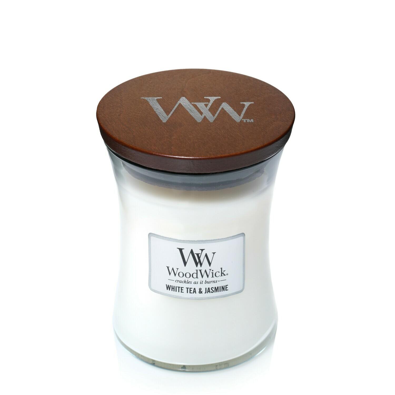 Аромасвеча WoodWick Белый чай и жасмин, средняя
