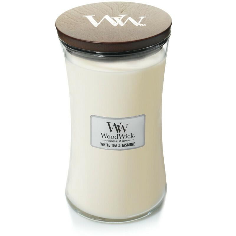 Аромасвеча WoodWick Белый чай и жасмин, большая