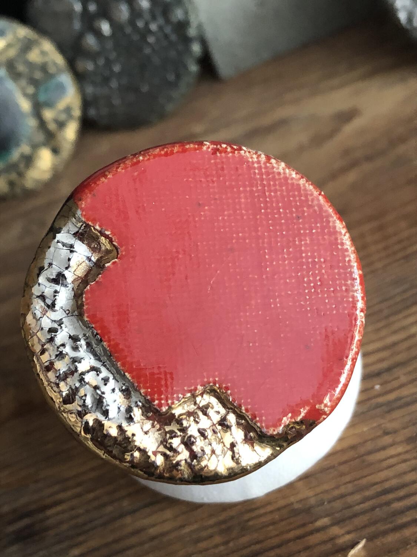 Anello Regolabile Argento 925 Con Placca Ceramica Rifinitura  Oro E Platino. Fatto A Mano. Pezzo Unico . Rosso
