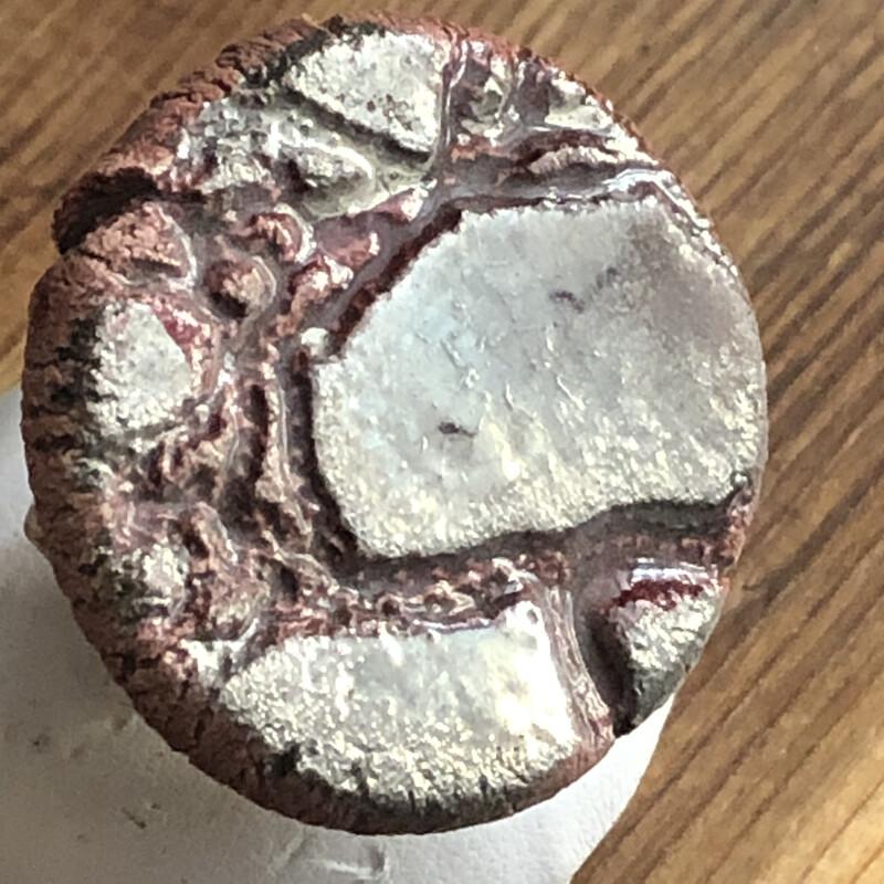 Anello Regolabile Argento 925 Con Placca Ceramica Fatto A Mano. Pezzo Unico . Rosso Bruciato E platino