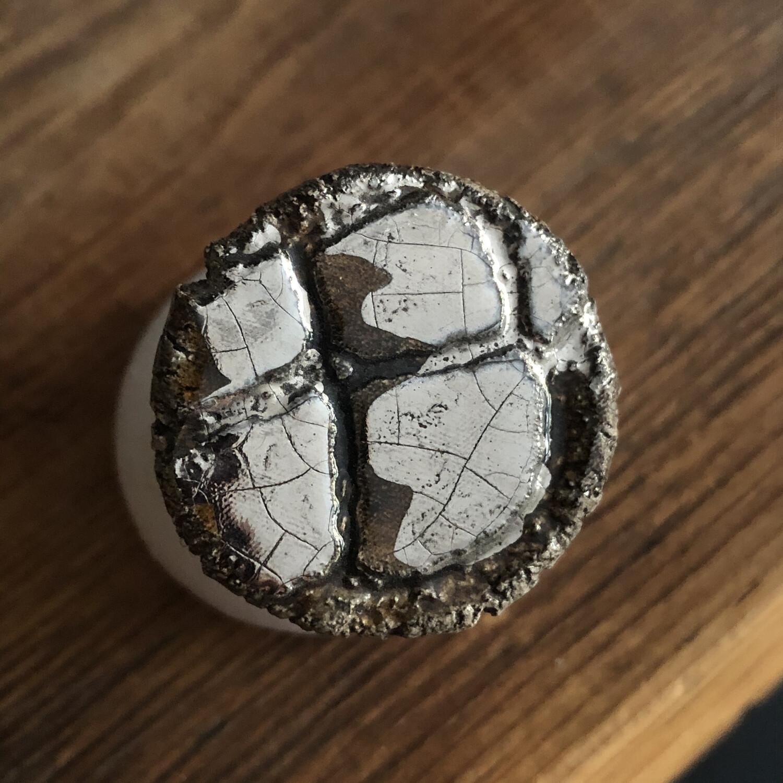 Anello Regolabile Argento 925 Con Placca Ceramica Fatto A Mano. Pezzo Unico . Caramel E Platino