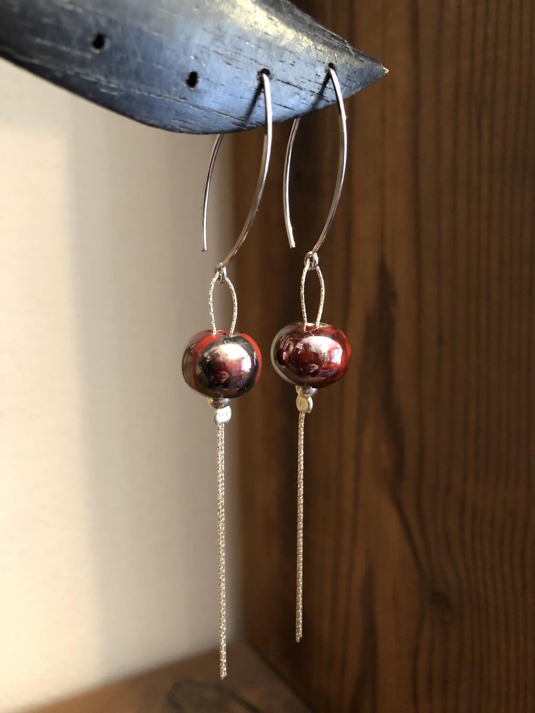 Orecchini Ciuffo Argento 925 E Ceramica . Rosso Scuro