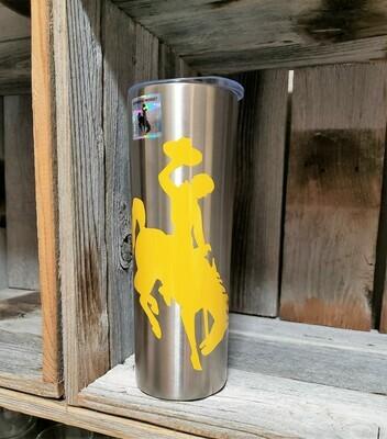 Wyoming Cowboy Brown & Yellow Tumbler