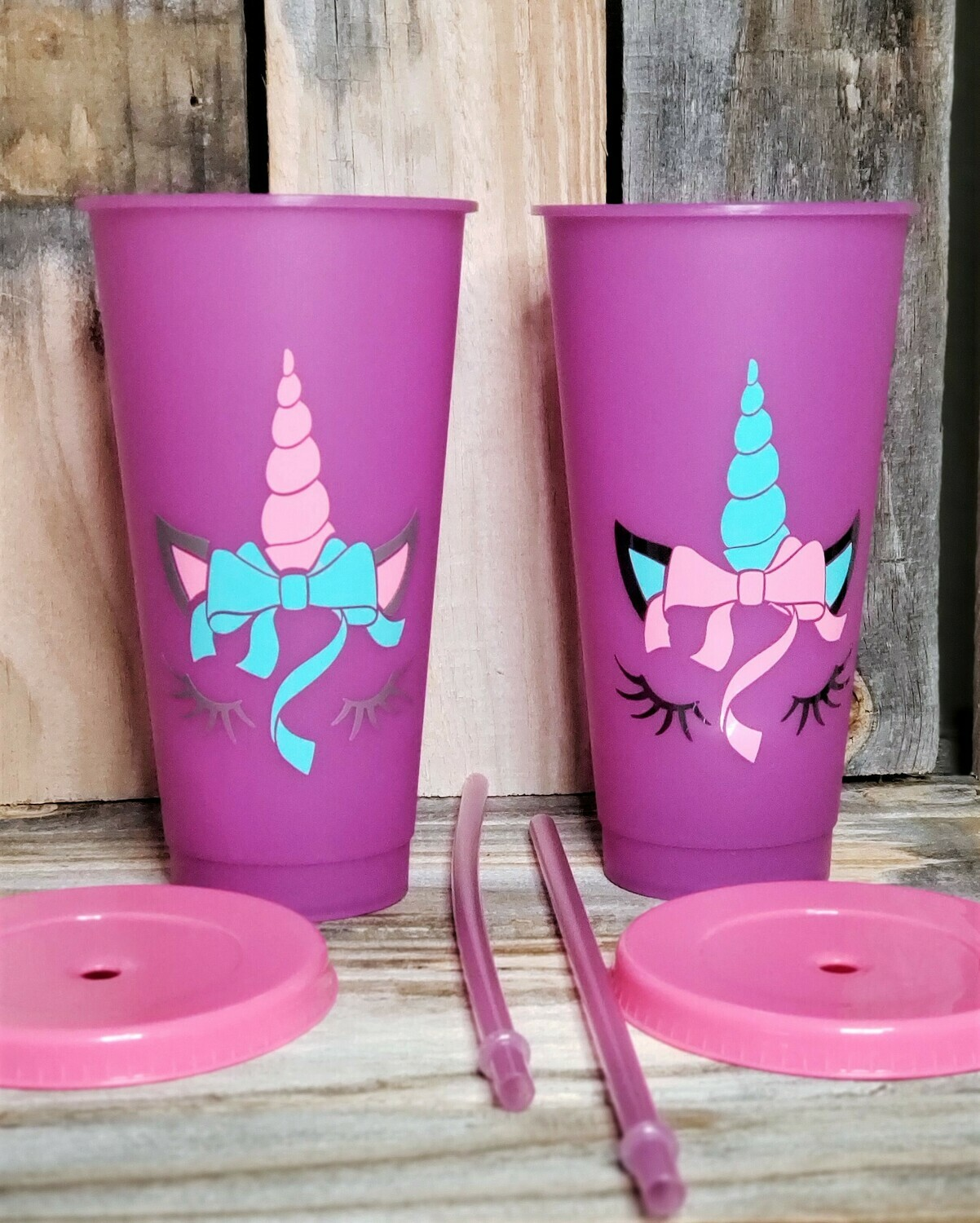 COLOR CHANGING Unicorn Water Tumbler w/straw