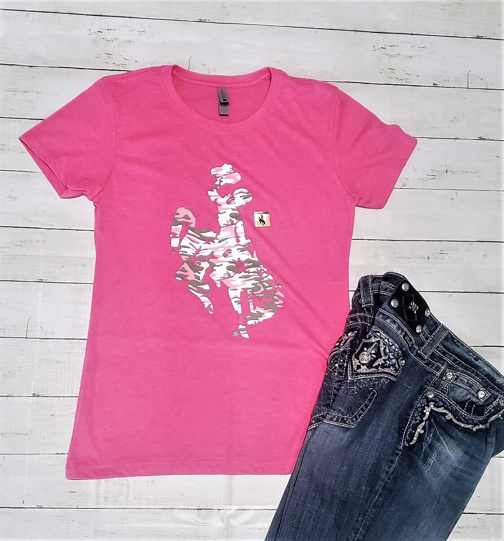 Wyoming Cowboys Women's Pink Camouflage Crew Tee