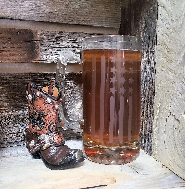 26.5 Oz Etched American Flag Beer Mug