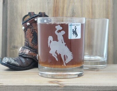 Etched Steamboat Whiskey Glass