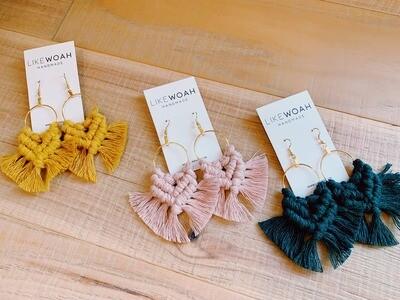 Macrame Hoop Earrings