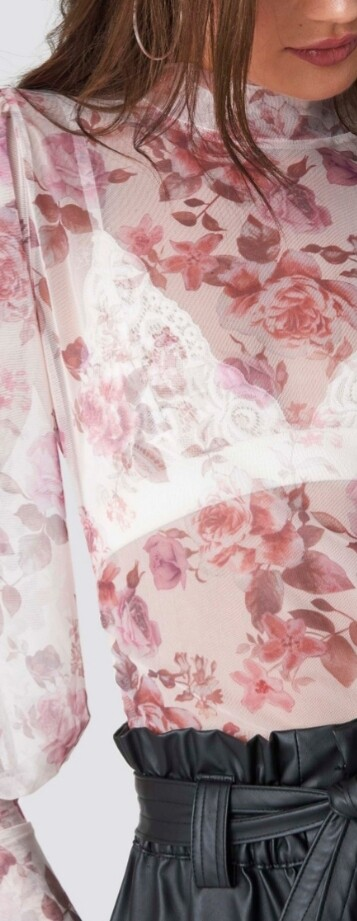 Pink Sheer Floral Top