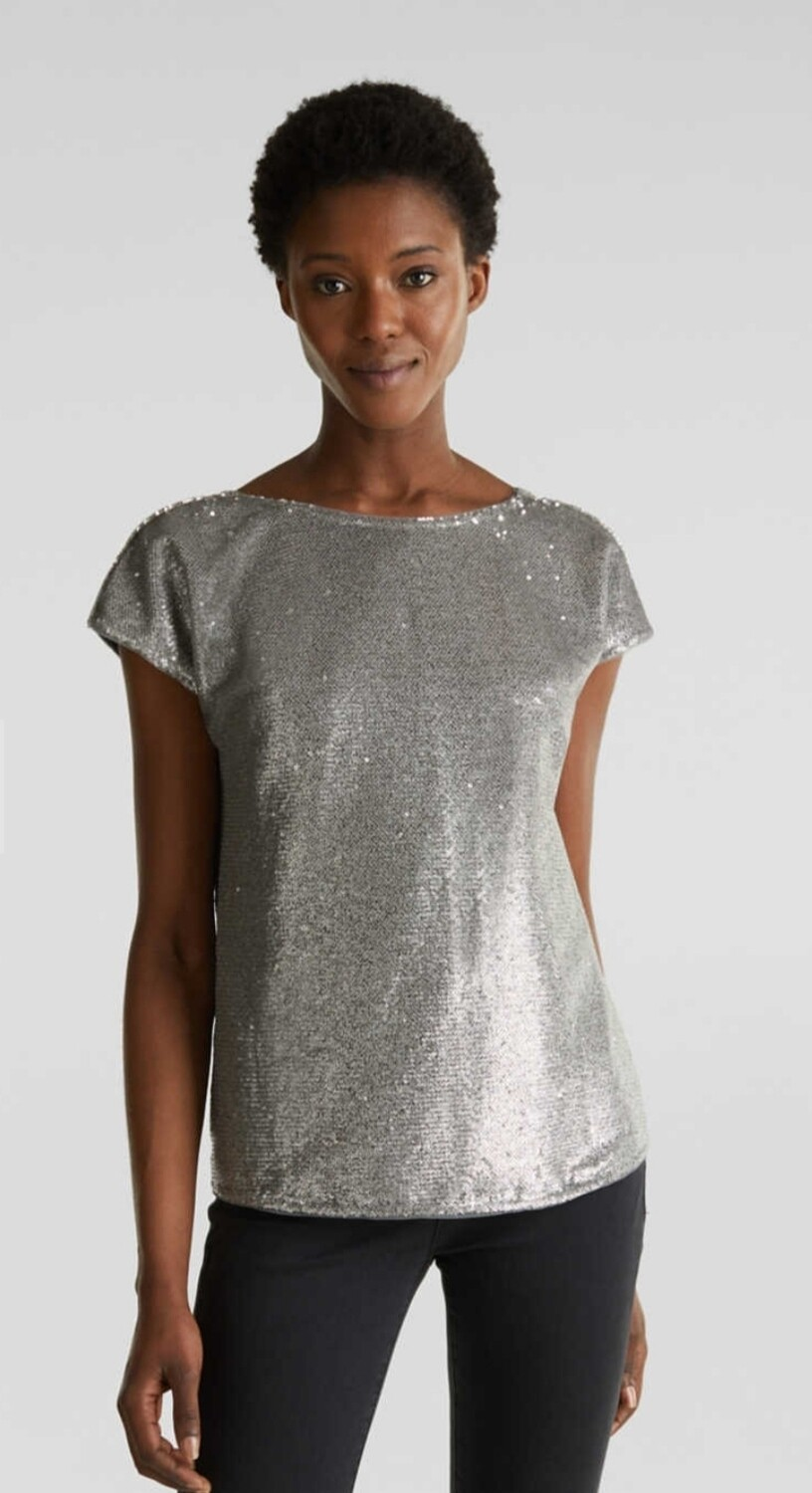 Sequin top with V-neck at the back
