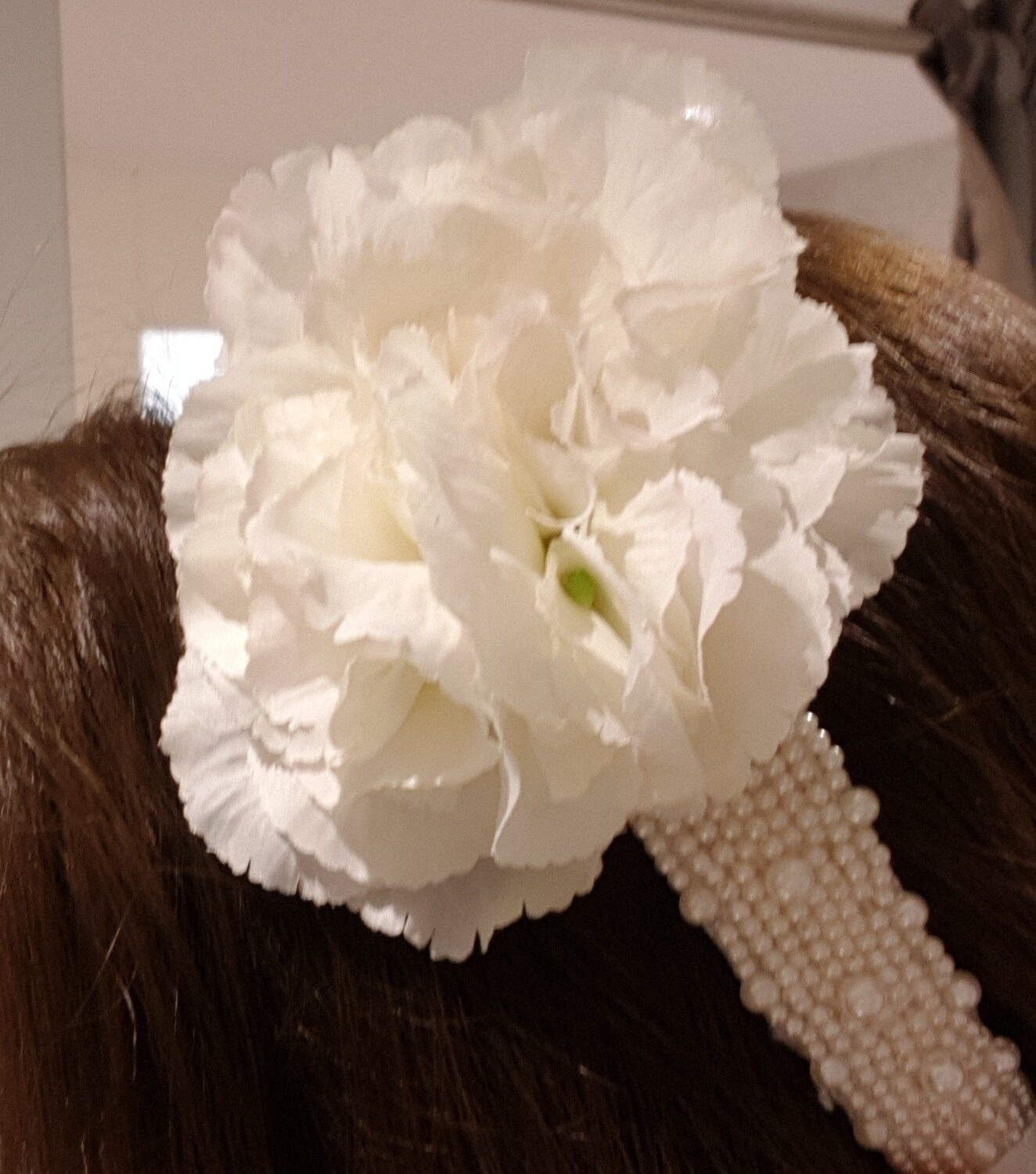 Pearl encrusted wide hairband with flower