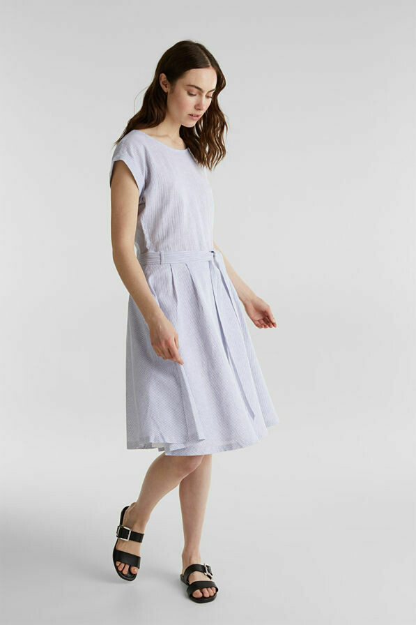 Linen blend: striped dress