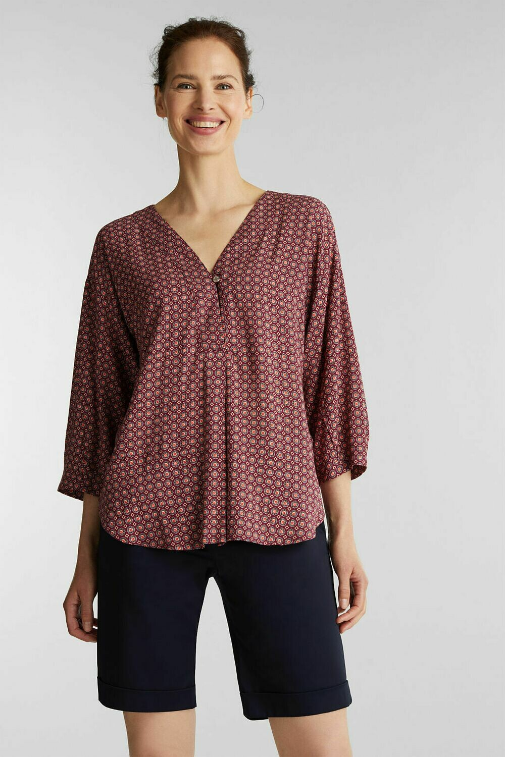 Print blouse with 3/4 sleeve