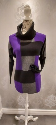 Chequered Cowl Neck