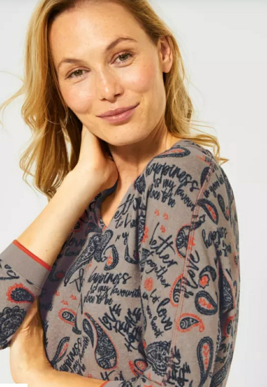 Soft Touch Top With Paisley Print