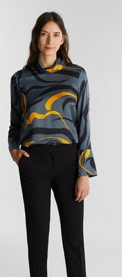 Satin blouse with a draped collar
