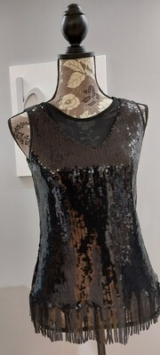 Black 40's Style Shimmer Top