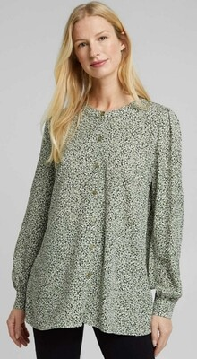 Print long sleeve blouse with round neckline
