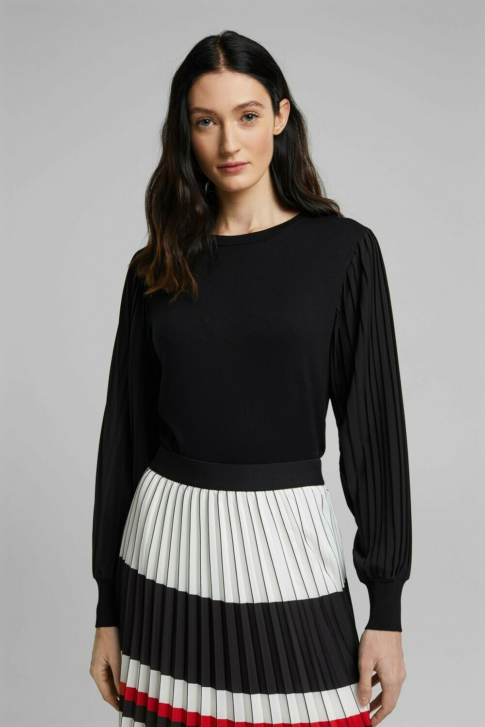 Black top with Sheer, Pleated Sleeve Detail