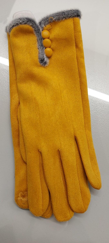 3 Button, fur trim glove