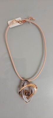 Rose Gold and Pewter Costume Necklace