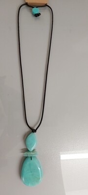 Long Necklace with Jade Pendant
