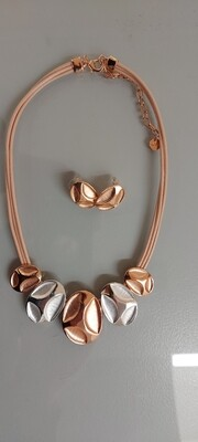 Rose Gold and Silver Costume Necklace and Earring Set
