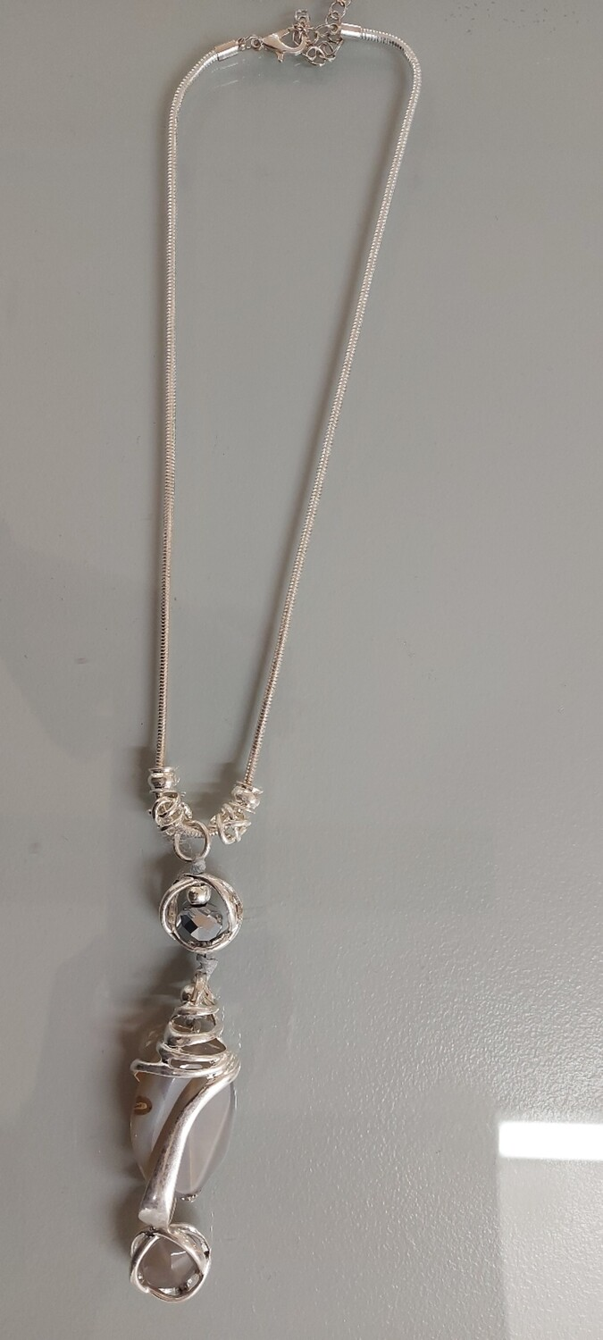 Silver Necklace with Encased Pendant