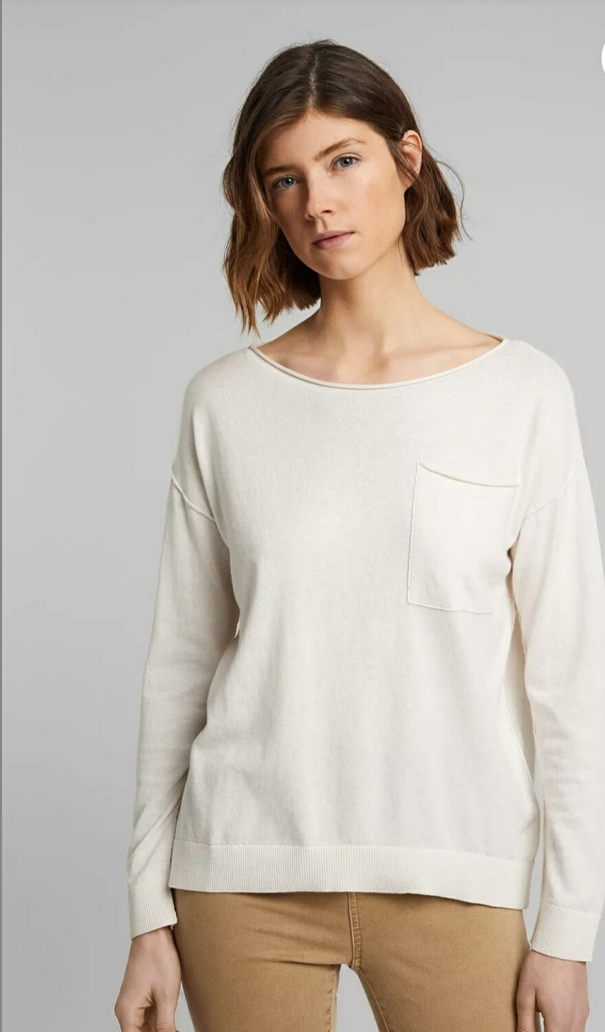 Organic Cotton/Silk blend: jumper with a breast pocket
