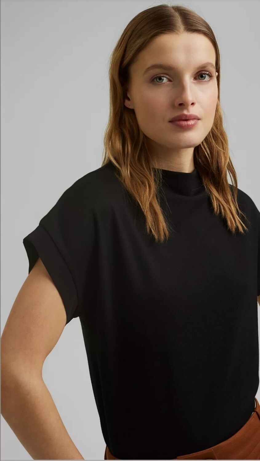 Turtleneck top with satin detail