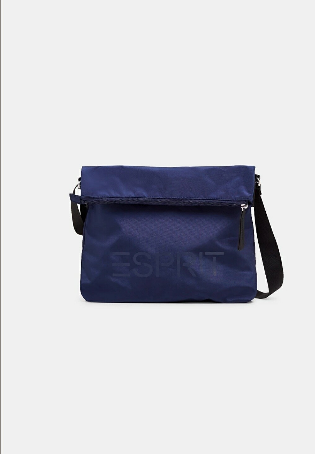 Navy nylon bag with a logo and adjustable clasp