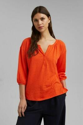 3/4 Sleeve T-Shirt - Cotton/Linen Mix