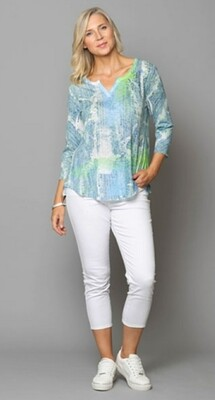 Abstract Print Top in Blue